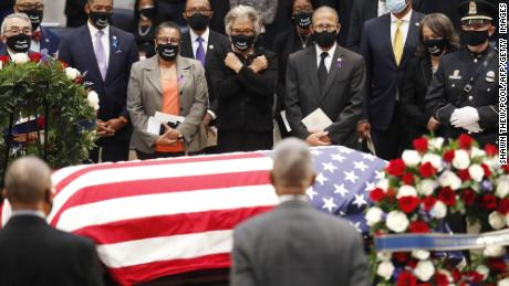Rep. John Lewis & # 39;  The casket was seen at the Capitol Rotunda earlier this summer.