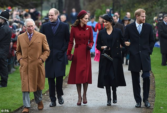 Prince Charles, Prince William, Kate, Megan and Harry in Sandringham in December 2018