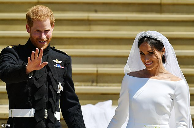 Prince Harry and Meghan pictured after their wedding at Windsor Castle in May 2018