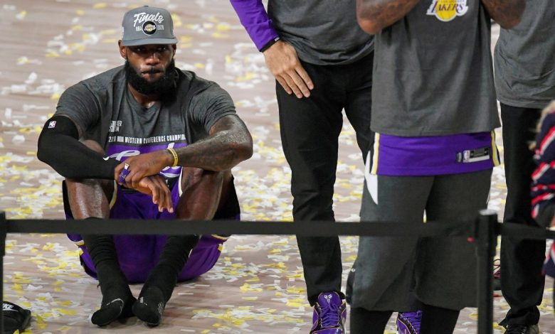 Los Angeles Lakers player LeBron James shrugs as they qualify for the 10th NBA Finals