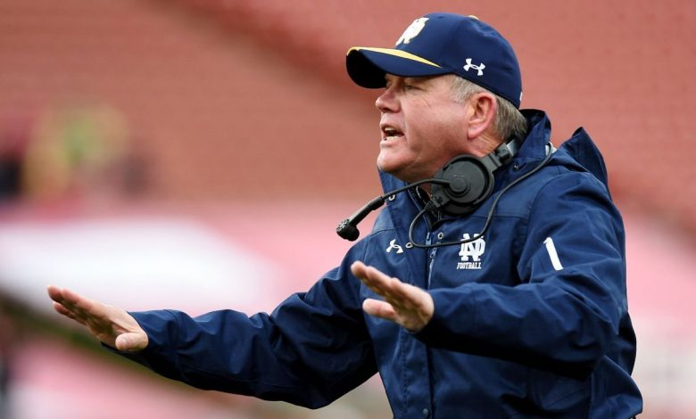 Notre Dame football coach Brian Kelly links the coronavirus outbreak to the pre-match meal and player's vomiting