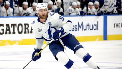 Photo of Stephen Stamkus of Tampa Bay Lightning plays in the fifth game of the Stanley Cup
