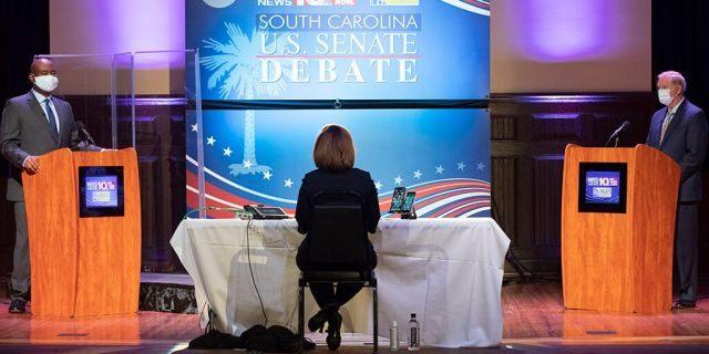 Democratic challenger Jaime Harrison, left, and US Senator Lindsey Graham, right, Republika Srpska, face off in the Senate debate in South Carolina at Allen University in Columbia, South Carolina, Saturday October 3, 2020 (Associated Press)