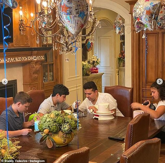 Family Affair: In the photos, Buddy is surrounded by his family at his home in Montville, New Jersey, as he was recovering