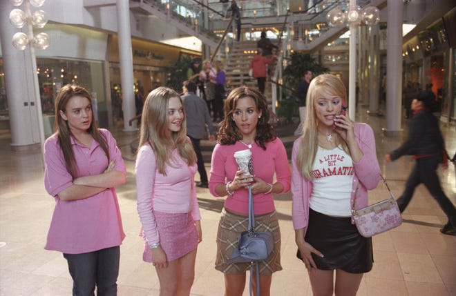 """Lindsay Lohan (L) as Cady and Amanda Seyfried as Karen and Lacey Chabert as Gretchen and Rachel McAdams as Regina in """"I mean girls."""""""