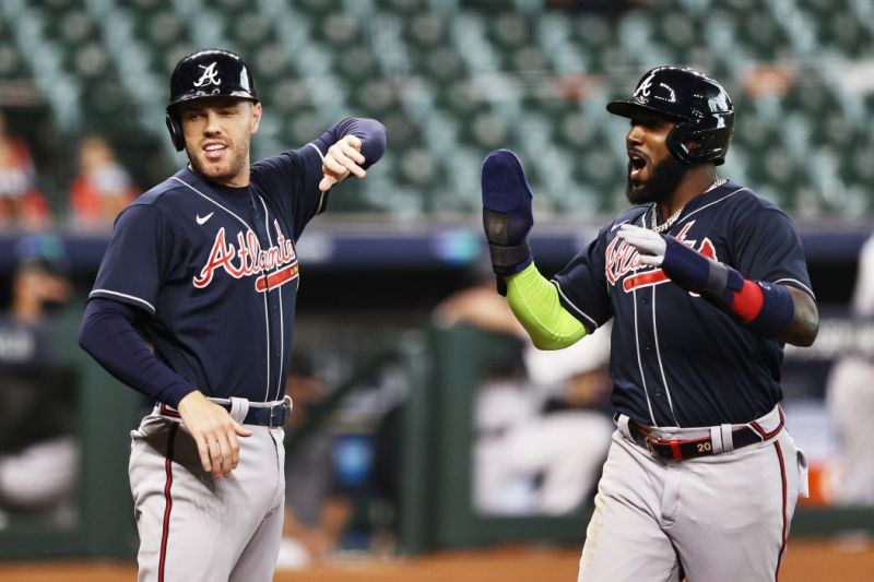 Braves are heading to the NLCS for the first time since 2001 after the Marlins took over. (Photo by Elsa / Getty Images)