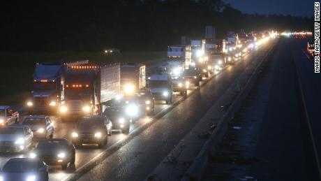Traffic jam on a westbound I-10 amid evacuations ahead of Hurricane Delta on Thursday in Lake Charles, Louisiana