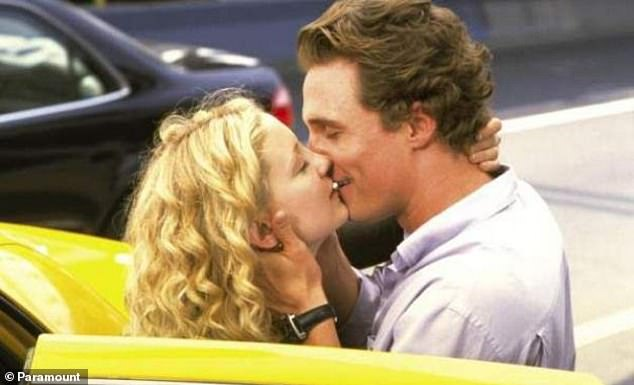 Previous Kisses: Gwyneth Paltrow and Kate Hudson enjoyed memories about some of the lip locks that appeared on screen in Gwyneth Joop's podcast on Tuesday; Kate is seen here with Matthew McConaughey in How To Lose A Guy In 10 Days in 2003
