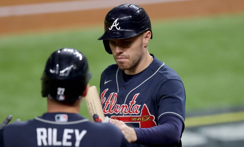 Braves explode at the top early and fend off the Dodgers to claim a 2--0 lead in the NLCS