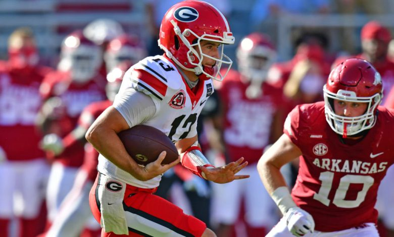 Georgia QB Stetson Bennett, favorites to start against Auburn