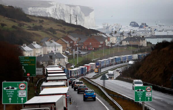 The trucks are approaching Dover, England, to pass to France on Friday.  It remains uncertain whether Britain and the European Union can reach a trade deal by January 1.