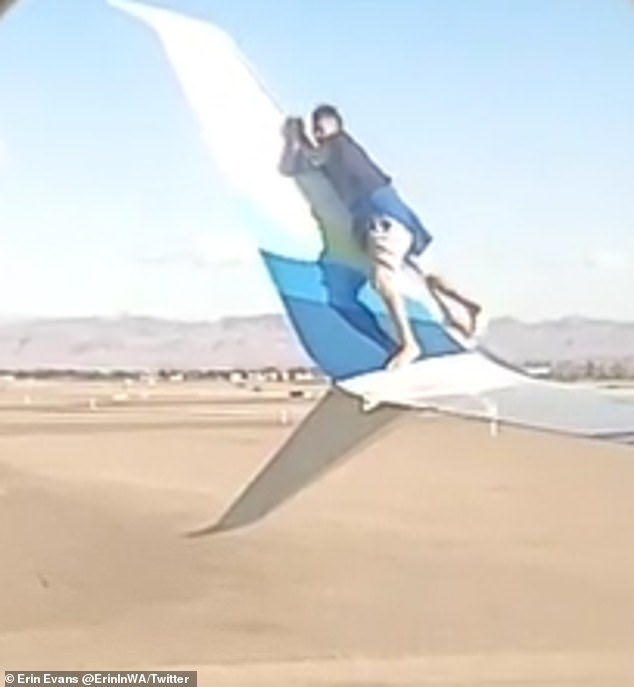 But soon after climbing up the wing, the man slipped and fell on the tarmac