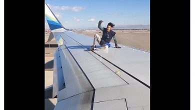 Photo of A Las Vegas man was arrested after he boarded the wing of an Alaska Airlines flight