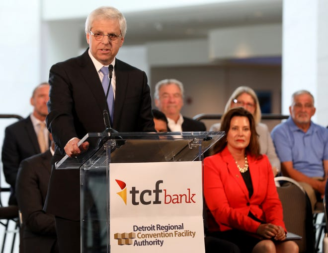 Gary Torgo, CEO of TCF Financial Corporation speaks to the audience during the renaming ceremony from Cobo Center to TCF Center in downtown Detroit, Michigan on Tuesday, August 27, 2019.