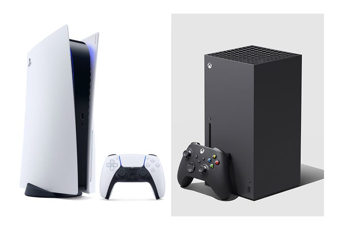 With new video game systems like the Sony PlayStation 5 on the left, and Microsoft's Xbox Series X on the right, many are looking to sell or trade in vintage gaming consoles and games.  (Composite image made by Sony and Microsoft brochures.)
