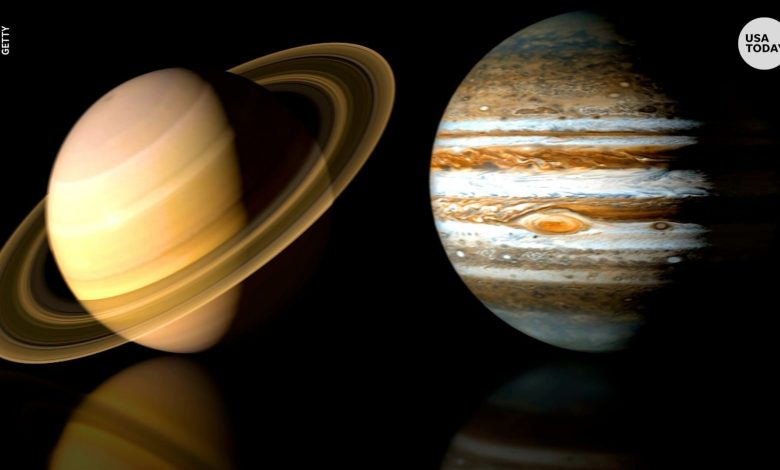 Images of Saturn and Jupiter are real, taken from the Massachusetts Telescope