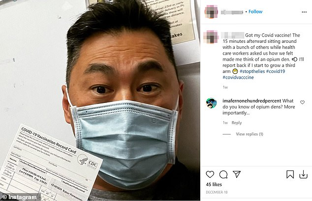 Emergency nurse Matthew W. (pictured) received a Pfizer vaccine on December 18, according to Instagram