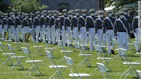 Students arrive to attend the 2020 Graduation Ceremony in West Point, New York, on June 13, 2020.