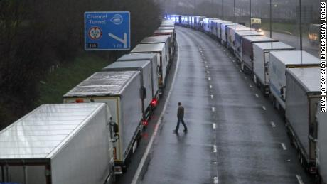 Trucks parked near Folkestone, I was after the Dover port was closed and access to the Eurotunnel terminal was suspended following the French government's announcement that it would not accept any passengers arriving from the UK within the next 48 hours.