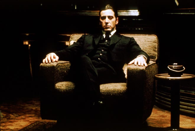 """Al Pacino had long hair as Michael Corleone, the youngest son in the Corleone crime family, Vs. """"The Godfather."""""""