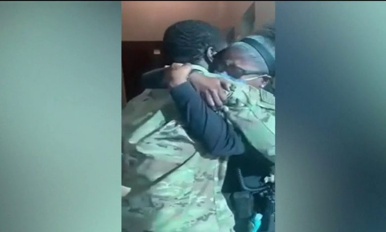 The military son returns home to surprise the holiday police sergeant's mother