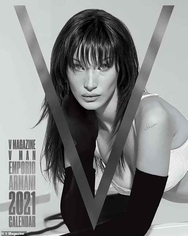 Cover Girl: Bella also rang 2021 with V Magazine, covering her Emporio Armani appearance calendar and some chic bangs