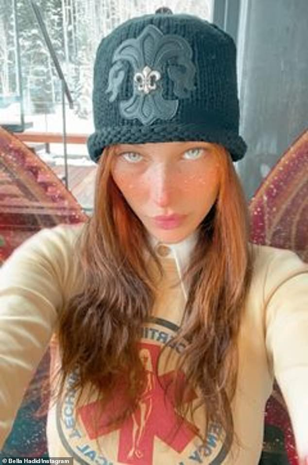 Hats: The 24-year-old took to her Insta Story with a freckle-filtered selfie for the look capped by a black beanie woven from flur-de-lis