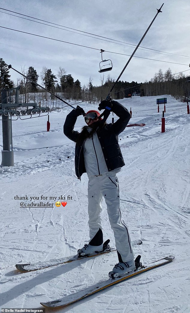 Hit the slopes: Bella hit the slopes previously, as she escaped into the snowy Aspen Mountains on a New Year's ski trip