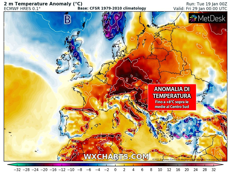 Predicted temperature anomalies for Merla days
