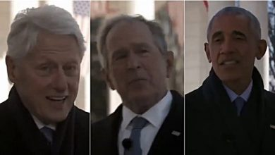 "Photo of The United States, Clinton, Bush and Obama together in a video: ""Biden encourages you"""