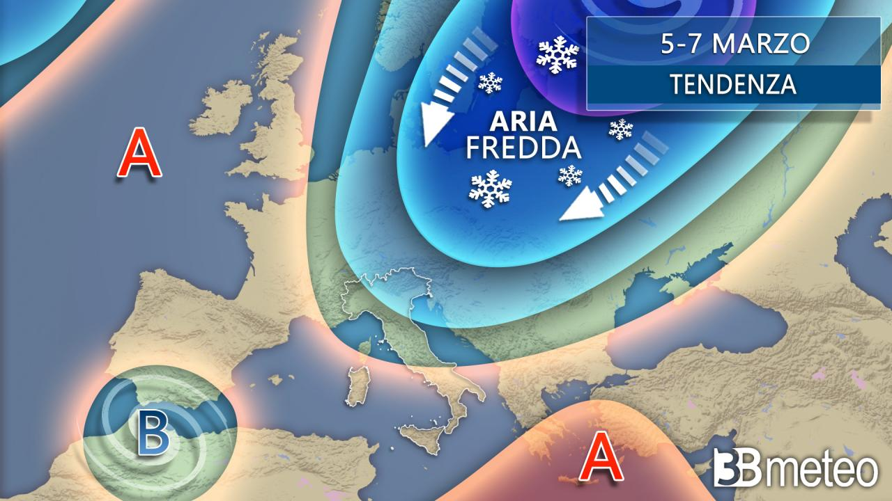 Weather trend between 5 and 7 March