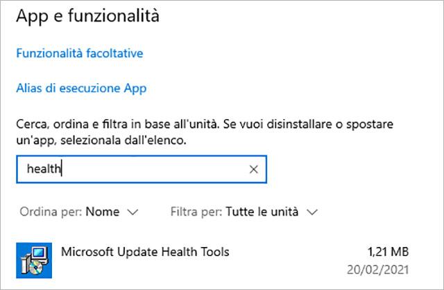Il Microsoft Update Health Tools program in Windows 10