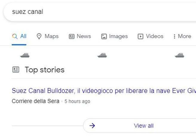 Google celebrates the opening of the Suez Canal with a display of ships in Corriere.it searches