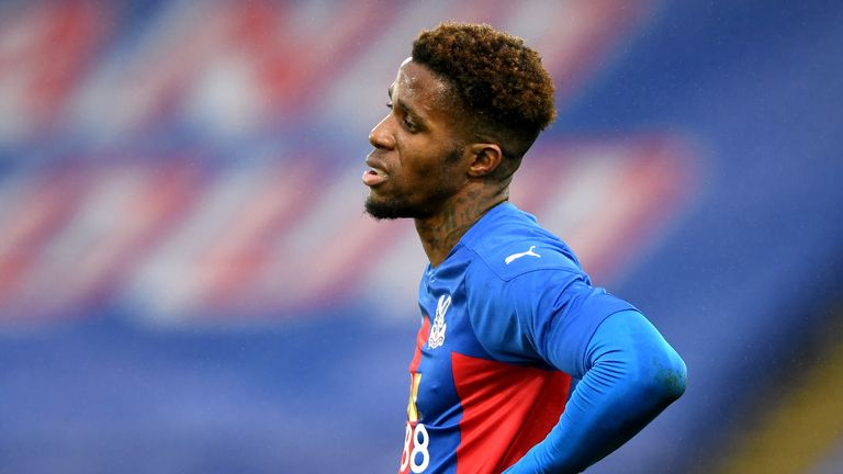 Wilfried Zaha shows his frustration in the first 45 minutes without a goal
