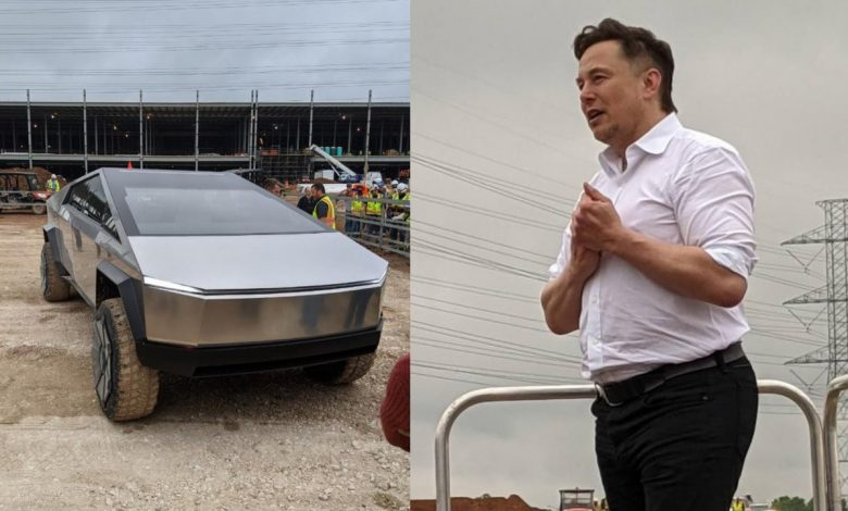 Elon Musk visits the Gigafactory under construction in Austin and appears with Cybertruck