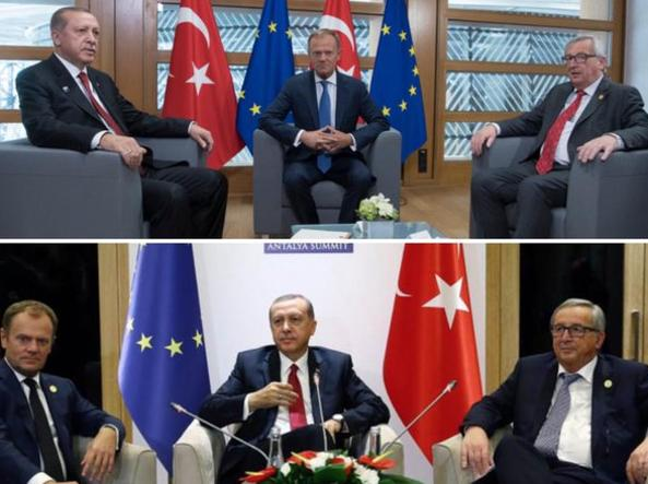 Pictures of previous meetings between Erdoan, then president of the European Union Council, and Commission President Jean-Claude Juncker