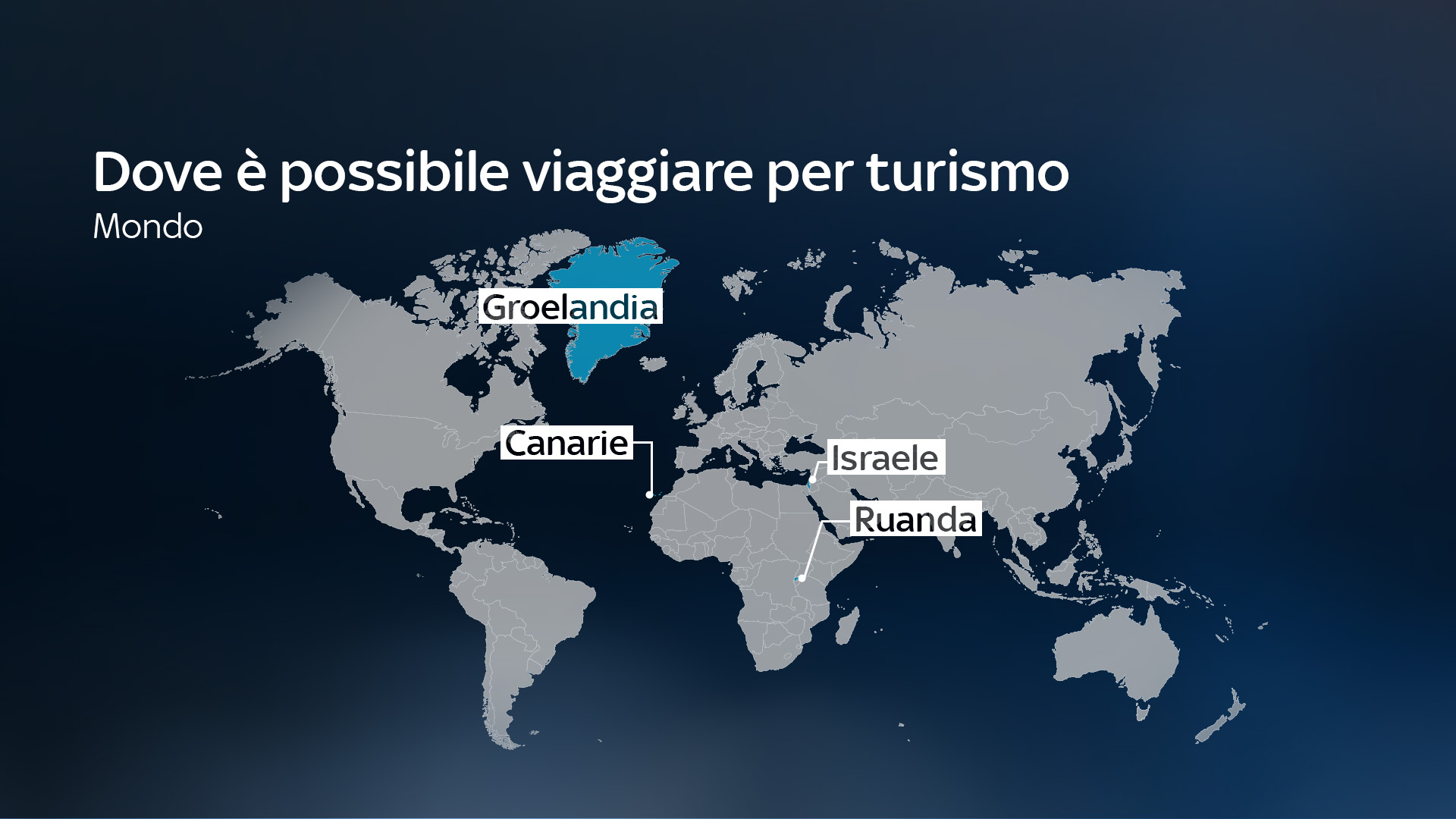 In the picture is a map of the world with the countries that can be visited for tourism