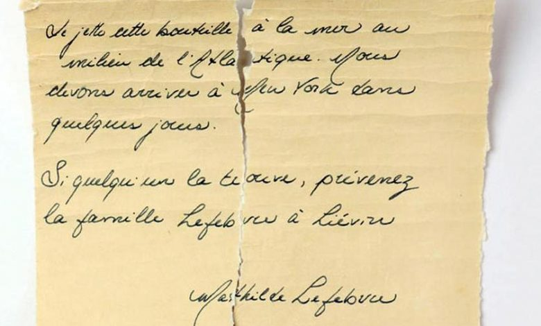The message in a bottle is from Matilde, the 13-year-old who died on board the Titanic.  A puzzle that moves France