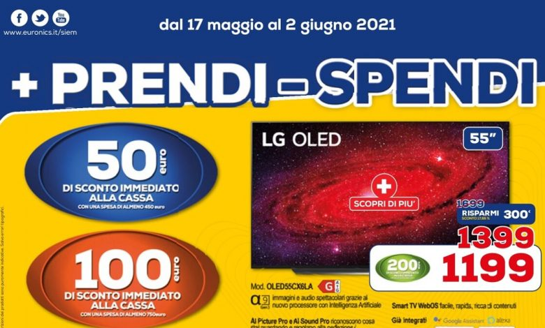 Euronics '+ Get - Spend' until June 2nd: instant discounts of up to € 300