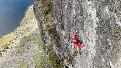 Photo of Steve McClure selling at Stile Flash Impact Day, tricky via Trad a Pavey Ark