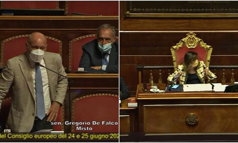 """De Falco in the class tries to ask a question about the zan bill but the time for intervention is over.  Casellati: """"I'm sorry, I won't give anyone more"""""""