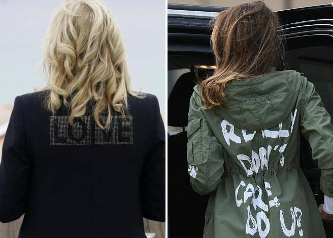 """Biden wears Cornwall, his wife Jill's """"Love"""" jacket and Melania Trump's wretched jacket - Corriere.it"""