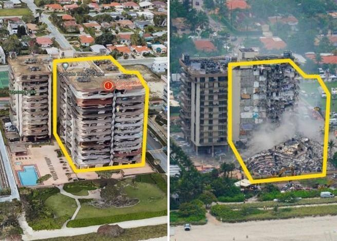 Miami, photos of the building before and after the collapse.  Report 2018: structural problems - Corriere.it