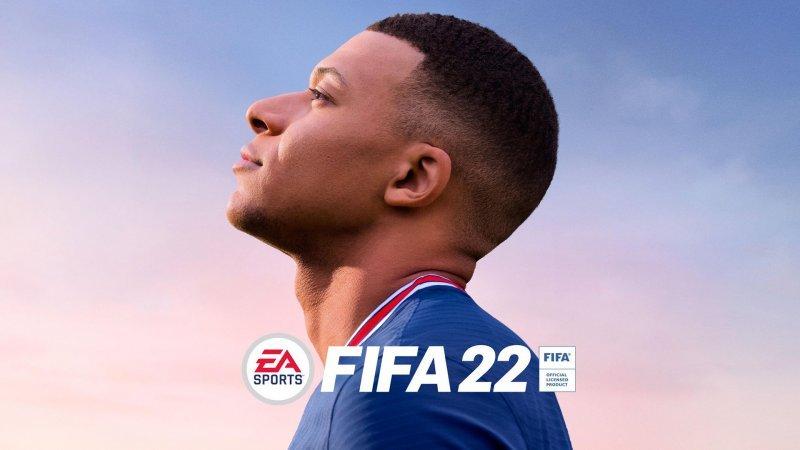 FIFA 22, Kylian Mbappé in official artwork.