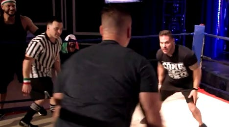 """mike """"situation"""" Sorrentino fights with Ronnie Ortiz-Magro with Chris Buckner on the July 22, 201 episode of """"Family vacation on the Jersey Shore."""""""