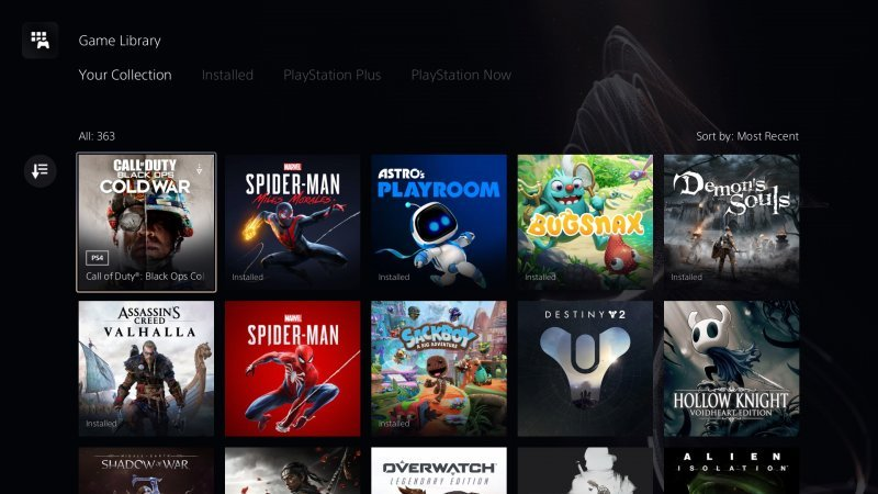 PS5 game library from which titles can be transferred to an M.2 SSD