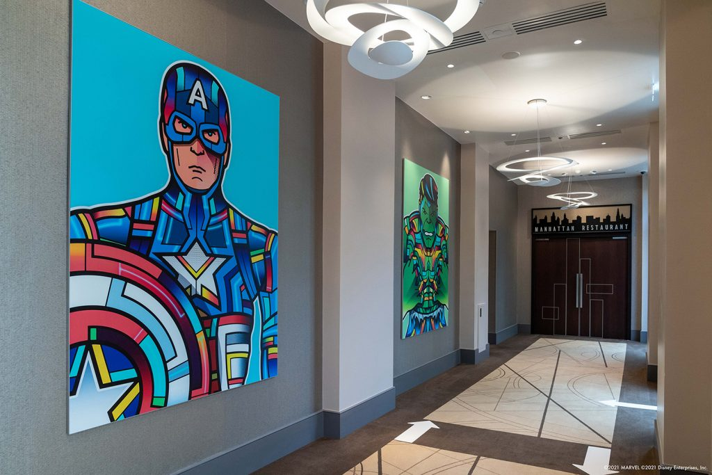 Some of the works featured in the exhibition are inspired by Marvel characters.  Via Disneyland Paris.