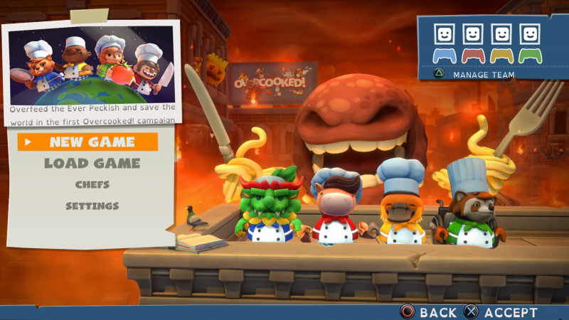 Overcooked!  All You Can Eat is a multiplayer game based on cooking and madness