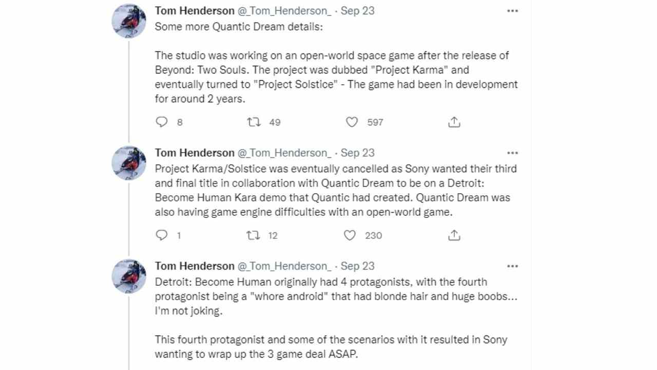 Detroit Become Human, the protagonist of a prostitute who was dumped by Sony