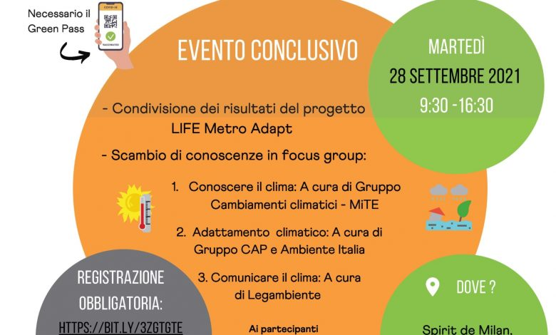Climate change and urban adaptation: a conference in Milan on Tuesday 28 for the Life MetroAdapt project as part of Pre Cop.